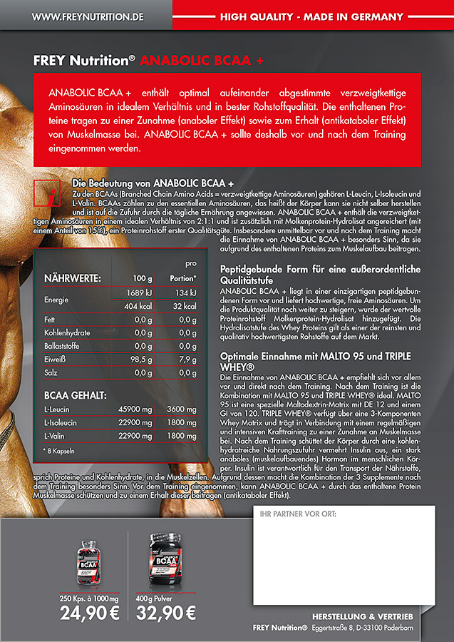 ANABOLIC BCAA + Flyer back