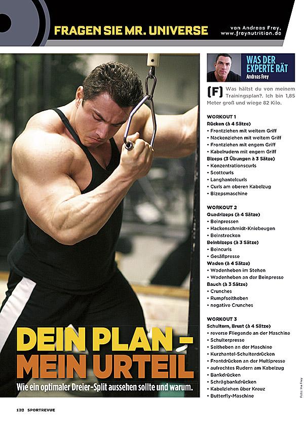Split training dreier Trainingsplan Muskelaufbau