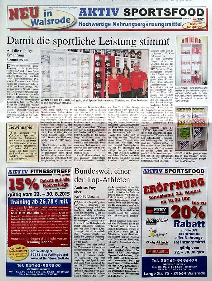 Aktiv Sportsfood Zeitungsartikel