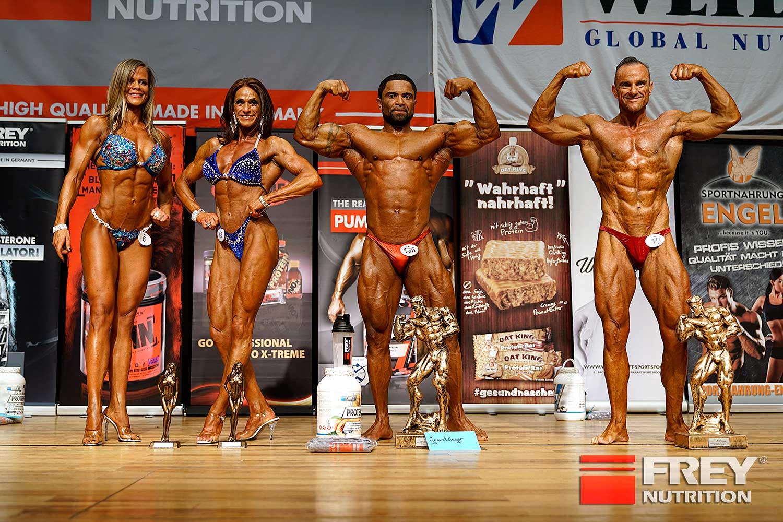 Die Gesamtsieger: Reka Lajgut (Bikini Shape), Petra Klär (Figur), Michael Ayena (Body), Michael König (Athletik)