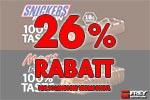26 % RABATT auf Mars und Snickers Proteinriegel