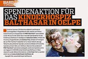 Pressebericht der Flex über Balthasar Spendenaktion